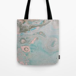 Fluid Art Acrylic Painting, Pour 18, Pastel Pink, Blue & Gray Blended Color Tote Bag