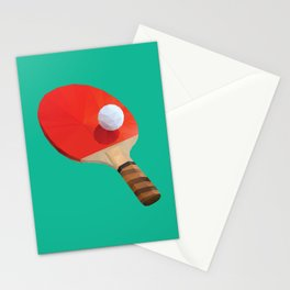 Ping Pong Paddle polygon art Stationery Cards