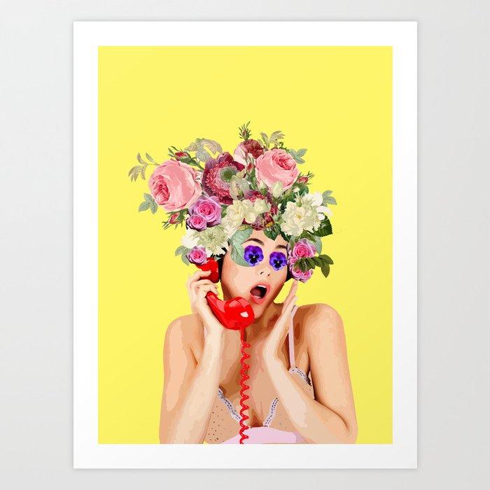 Woman in Rose Art Print