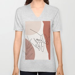 Father / Mother and Child Fine Line Wall Art Graphic  Unisex V-Neck