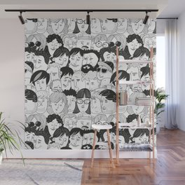 Colorful People Faces Pattern Wall Mural