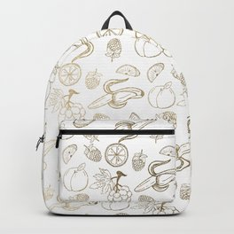 White faux gold modern sweet fruit pattern Backpack