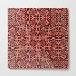 Peach Echo Geometric Floral Abstract Metal Print