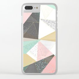 Stylish gold triangles geometric design Clear iPhone Case