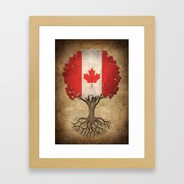 Vintage Tree of Life with Flag of Canada Framed Art Print