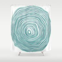 tree rings Shower Curtains featuring Tree Rings by Miami and Ema