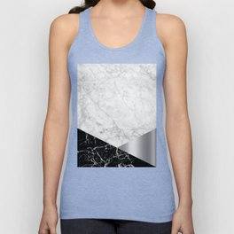 White Marble - Black Granite & Silver #230 Unisex Tank Top
