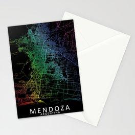Mendoza, Argentina, City, Map, Rainbow, Map, Art, Print Stationery Cards