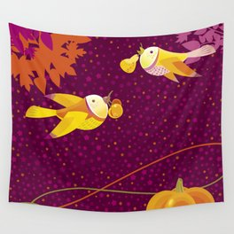 Two beautiful birds. Autumn time. Wall Tapestry