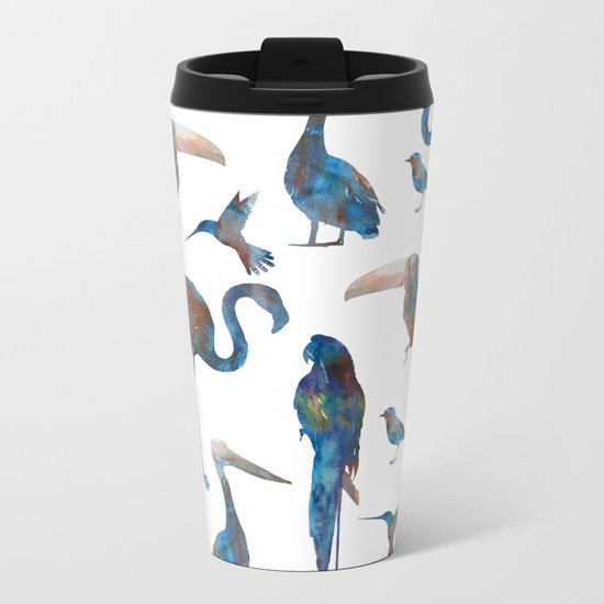 Birds Pattern Metal Travel Mug