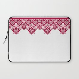 Retro .Vintage . Red lace on a white background . Laptop Sleeve