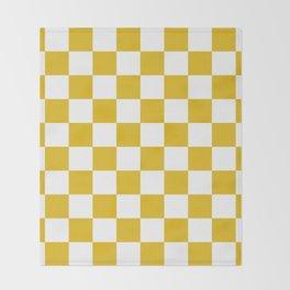 Mustard Yellow Checkers Pattern Throw Blanket