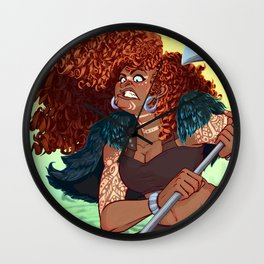 Red Head Warrior Wall Clock