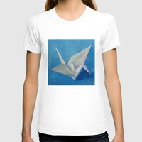 crane T-shirts featuring Origami Crane by Michael Creese