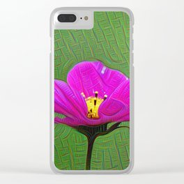 Pink Flower, DeepDream style Clear iPhone Case