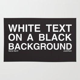 White Text Black Background Rug
