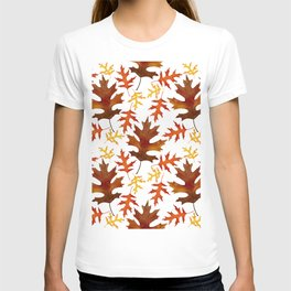 Rust, Brown, Red Orange Oak Leaf Repeated Textile Design 1 T-shirt