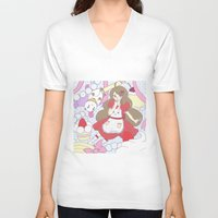 bee and puppycat V-neck T-shirts featuring Bee & puppycat ver 1 by Kurodoj