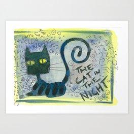 The Cat In The Night Art Print