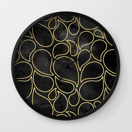 BLACK AND GOLD DROPS MARBLE Wall Clock