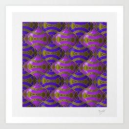 Christmas Ornament Tessellation in Blue Art Print