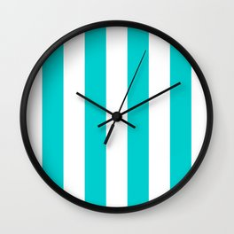 Vertical Stripes - White and Cyan Wall Clock