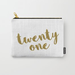 Twenty One / 21 Glitter Birthday Quote Carry-All Pouch