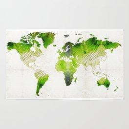 Green World Map Wall Art - Sharon Cummings Rug