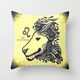 Zodiac Leo Zentangle Throw Pillow