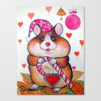 hamster Canvas Prints featuring HAMSTER by oxana zaika