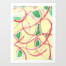 Rice with greens and tomato Art Print