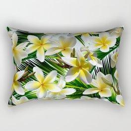 Plumeria on Palm Leaves Rectangular Pillow