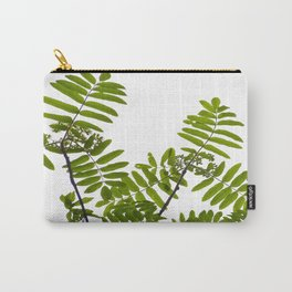 Green Rowan Leaves White Background #decor #society6 #buyart Carry-All Pouch