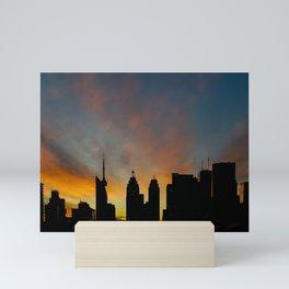 Skyline Sunset City Silhouette Mini Art Print