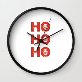 Christmas red Ho Ho Ho slogan with doodle white paw print. Happy new year and merry Christmas greeting card pet lovers Wall Clock