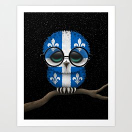 Baby Owl with Glasses and Quebec Flag Art Print