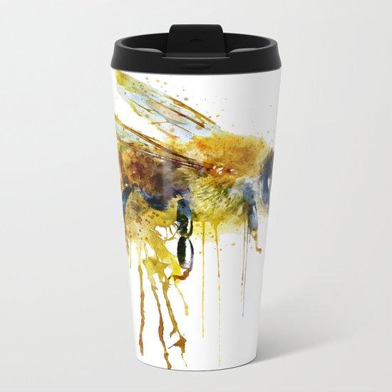 Watercolor Bee Metal Travel Mug