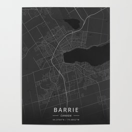 Barrie, Canada - Dark Map Poster