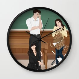 the professor, the pet and the frightened rabbit Wall Clock