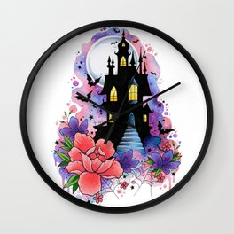 Halloween Spooky Castle Watercolor Design Wall Clock