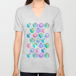 Christmas Gift Hexagons Unisex V-Neck