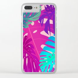 Colorful monstera leaves 1 Clear iPhone Case