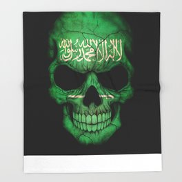Dark Skull with Flag of Saudi Arabia Throw Blanket