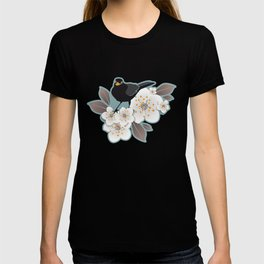 Waiting for the cherries I // Blackbirds blue background T-shirt