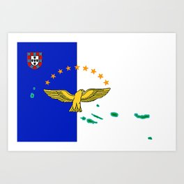 Azores Flag with Map of the Azores Islands Art Print