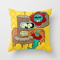 bender Throw Pillows featuring Wooden Bender by TheArtistKAFA