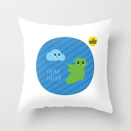 Friends Forever. Eire Bear and a cloud. Throw Pillow
