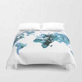 Design 121 Blue World Map Duvet Cover