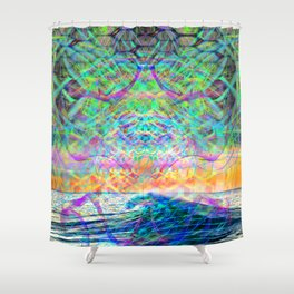 Wave Grid Consciousness (psychedelic) Shower Curtain
