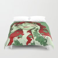 poison ivy Duvet Covers featuring poison ivy by bzablackis